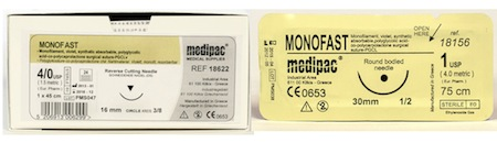 Monofast, Monofilament, Synthetic Absorbable PGCL Suture, 24pk
